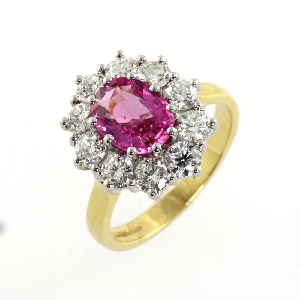 ring sapphire p and pink white gold diamond large context