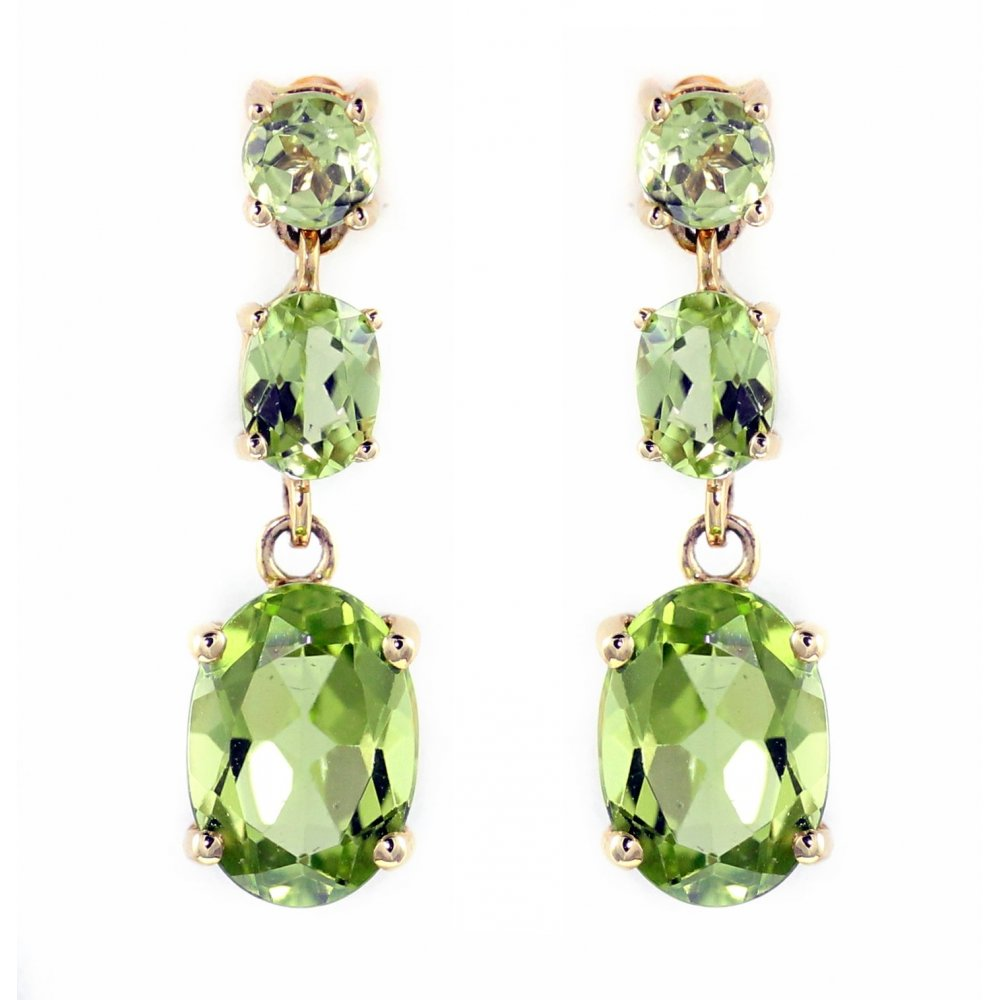 18ct Yellow Gold Peridot 3 Stone Drop Earrings