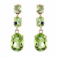 18ct yellow gold peridot 3 stone drop earrings.