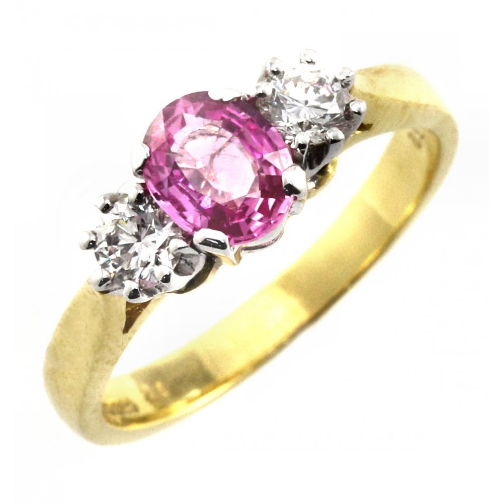 18ct Yellow Gold Pink Sapphire Amp Diamond 3 Stone Ring