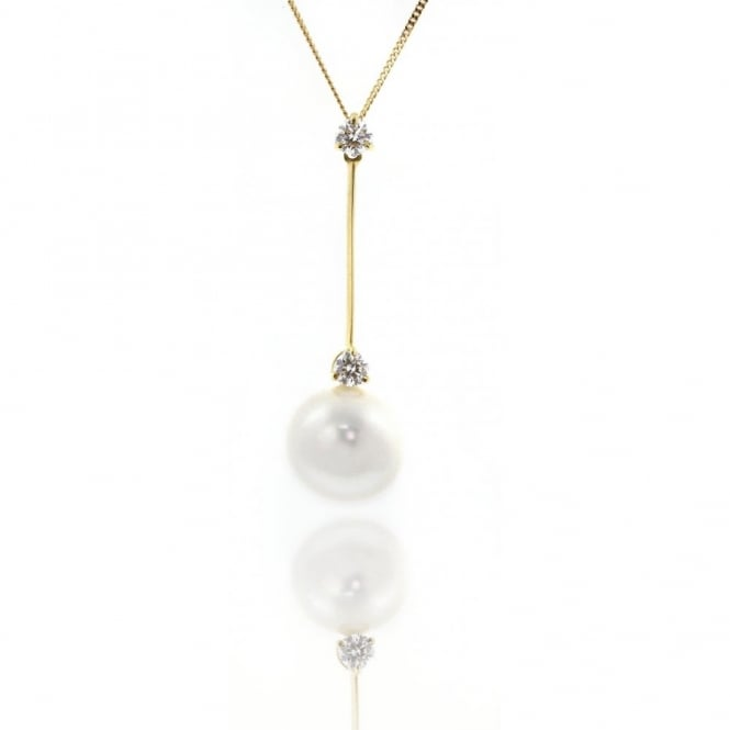 Matt Aminoff Pearls 18ct yellow gold south sea pearl and diamond bar pendant.