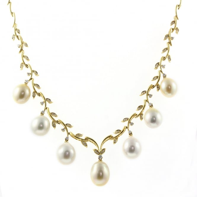 Matt Aminoff Pearls 18ct yellow gold white & gold pearl diamond fringe necklet.