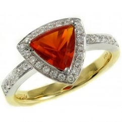 18ct yellow & white gold 1.06ct fire opal & 0.30ct diamond ring.