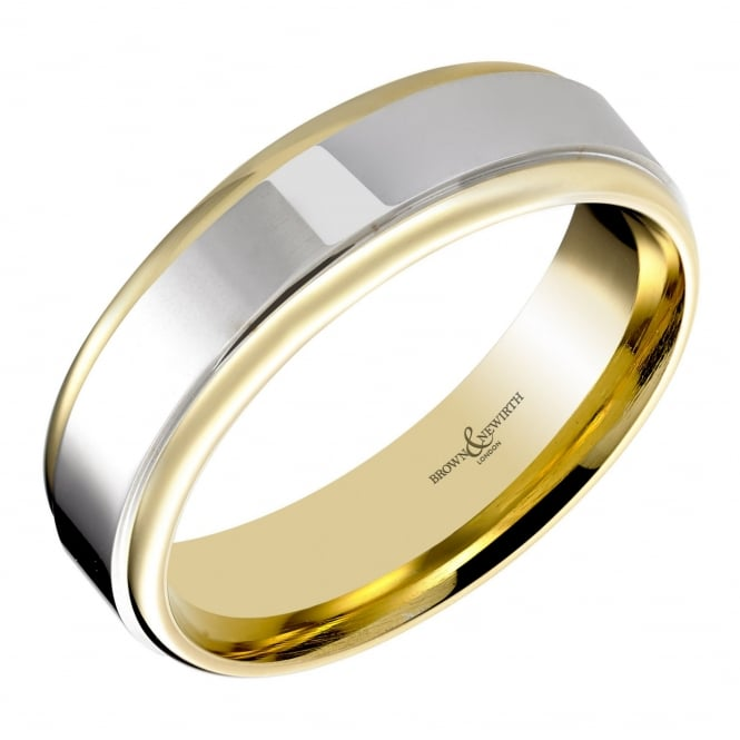 Brown & Newirth 18ct yellow & white gold 4.00mm court wedding band.