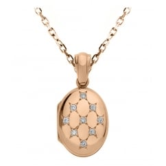 9ct rose gold 16x12mm diamond set oval locket.