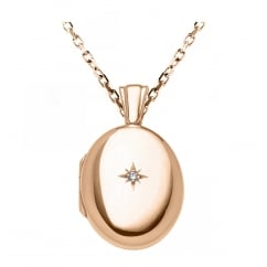 9ct rose gold 25x20mm diamond set oval locket.