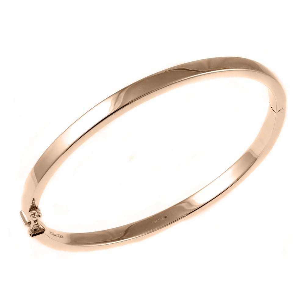 9ct Rose Gold 4 00mm Solid Oval Solid Bangle