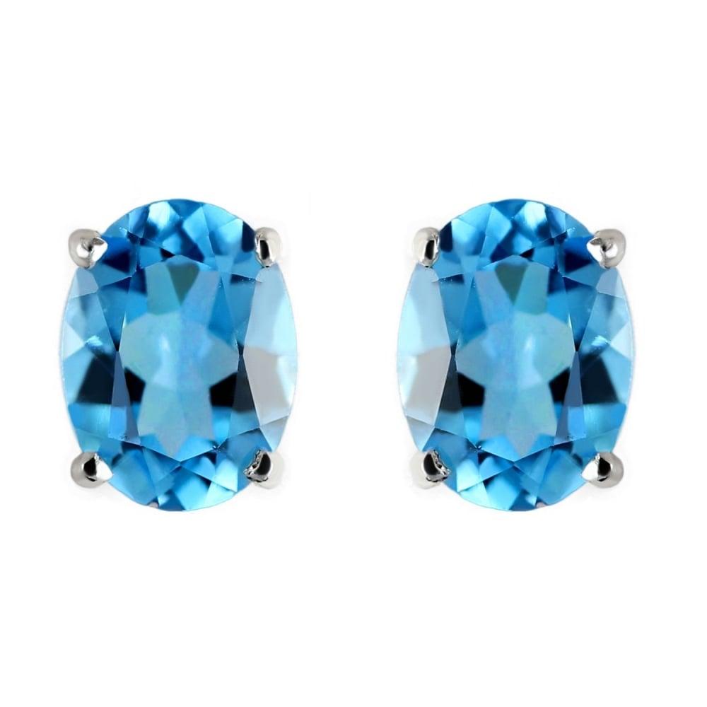 9ct White Gold 10x8mm Oval Blue Topaz Stud Earrings
