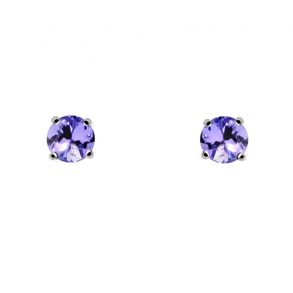 9ct White Gold 4x4mm Round Tanzanite Stud Earrings