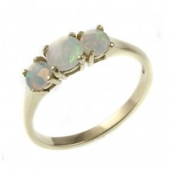 68313b686 9ct white gold 5mm & 4mm round opal 3 stone ring