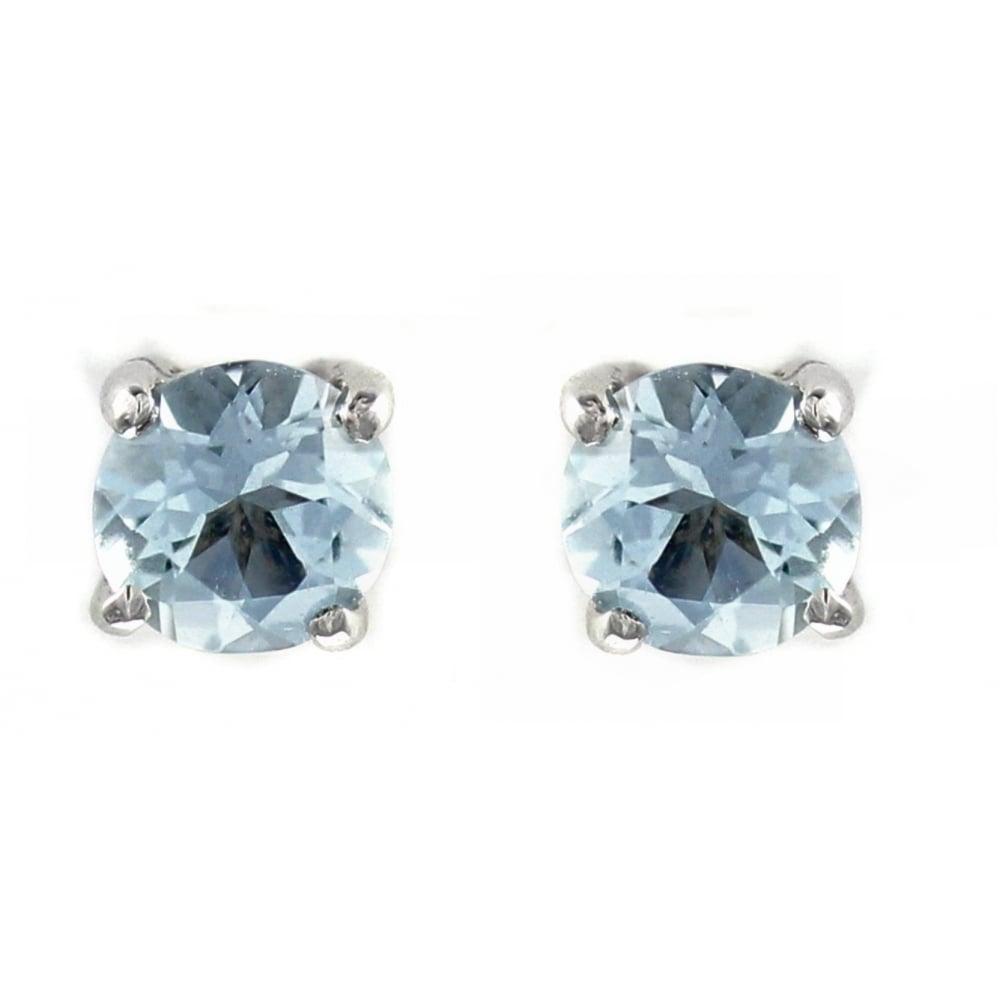 08cb0b44c7f98 9ct white gold 5mm x 5mm round aquamarine stud earrings