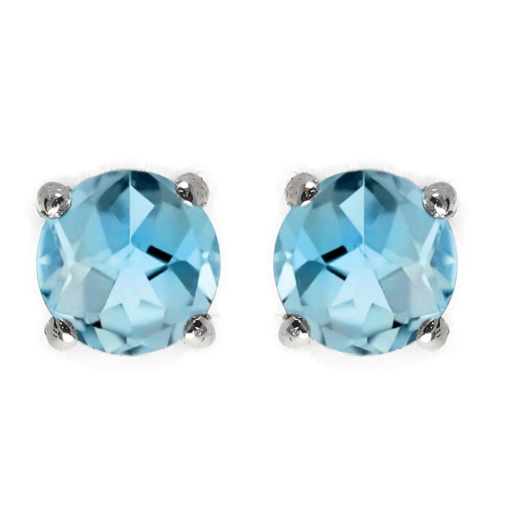 9ct White Gold 5mm X Round Blue Topaz Stud Earrings