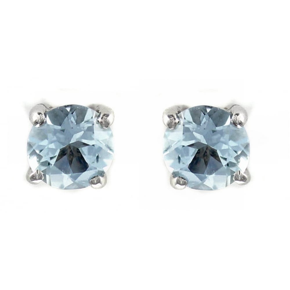 9ct White Gold 5x5mm Round Aquamarine Stud Earrings