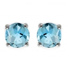 9ct white gold 5x5mm round blue topaz stud earrings