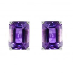 9ct white gold 6x4mm emerald cut amethyst stud earrings.