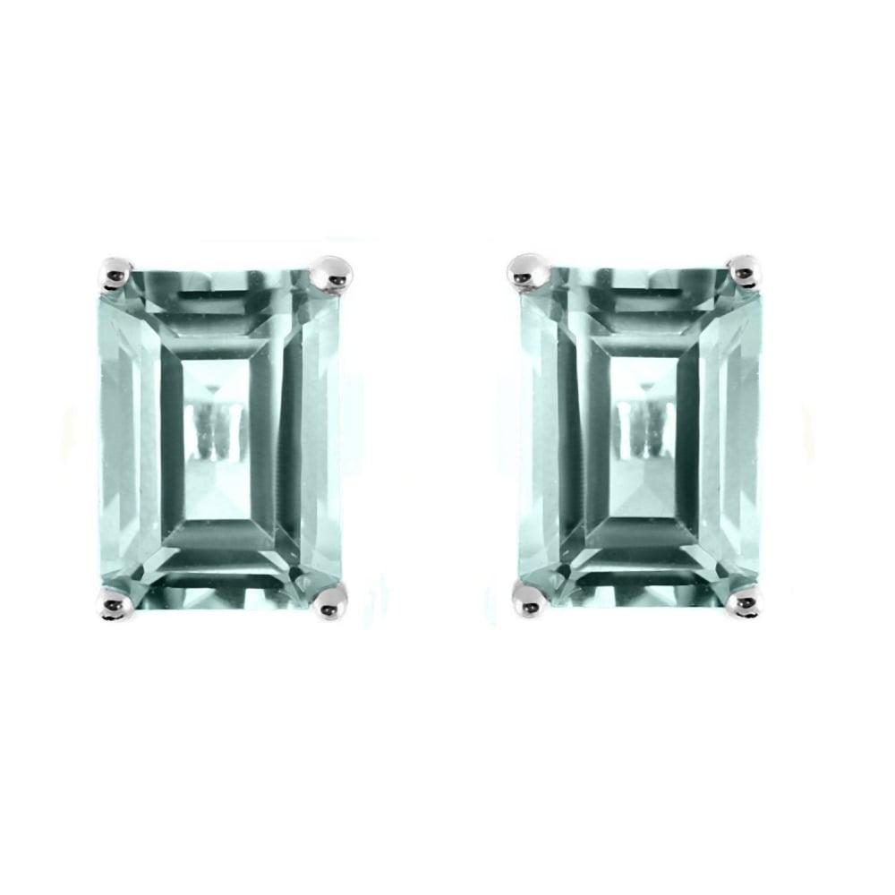 9ct White Gold 6x4mm Emerald Cut Aquamarine Stud Earrings