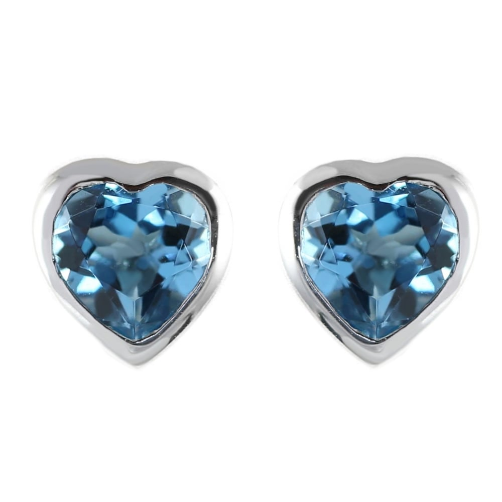 9ct White Gold 6x6mm Heart Blue Topaz Stud Earrings