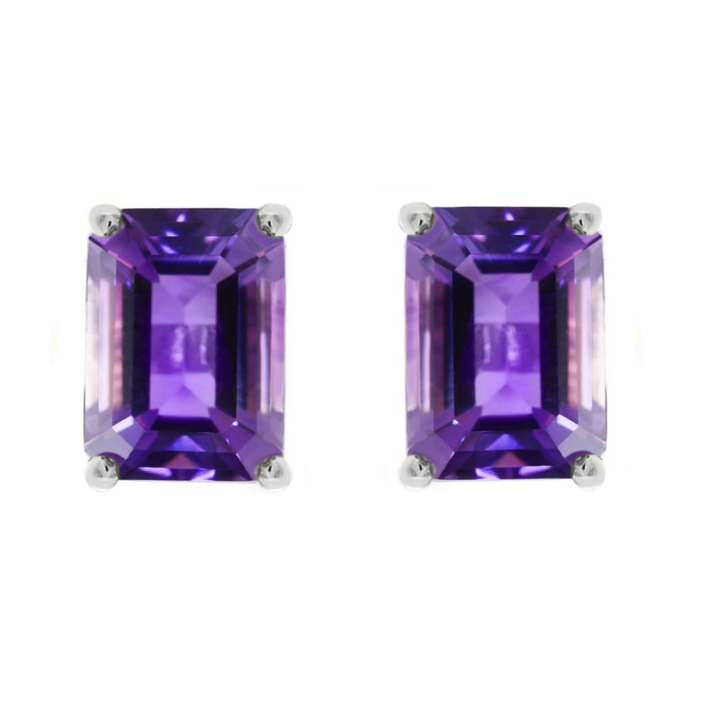 9ct White Gold 7mm X 5mm Emerald Cut Amethyst Stud Earrings