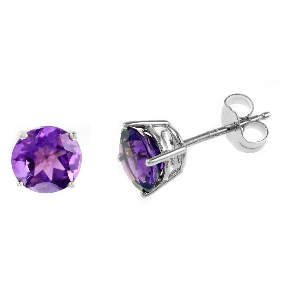 9ct White Gold 7mm X Round Amethyst Stud Earrings