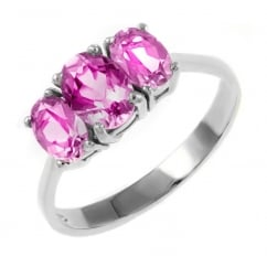 9ct white gold 7x5mm & 6x4mm pink topaz 3 stone ring