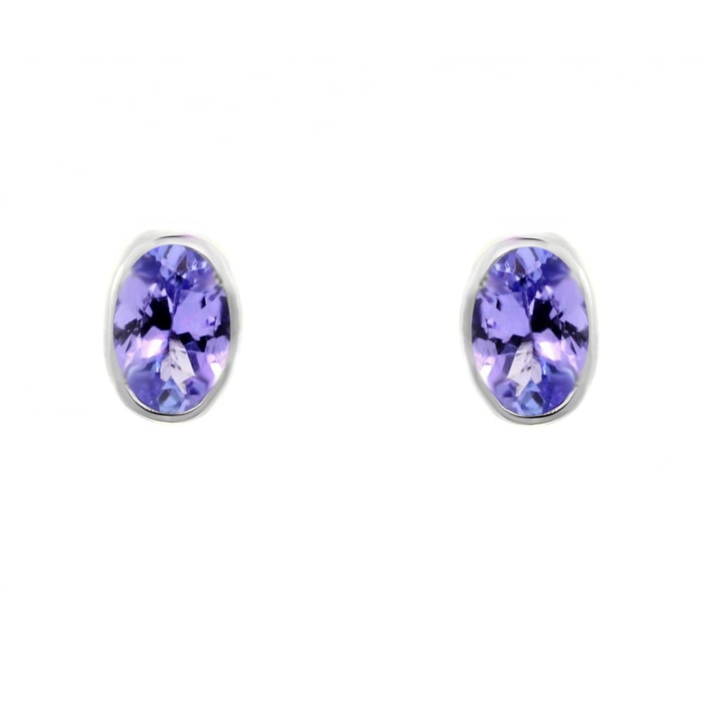 9ct White Gold 7x5mm Oval Tanzanite Stud Earrings
