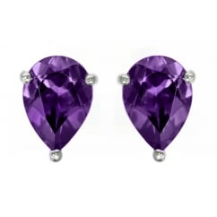 9ct white gold 7x5mm pear amethyst stud earrings.