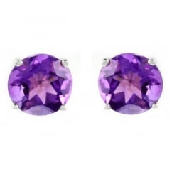 9ct white gold 7x7mm round amethyst stud earrings.