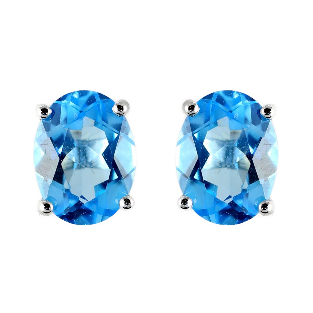 blue oval earrings jewellery new stud topaz gold from white image