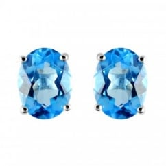 9ct white gold 8x6mm oval blue topaz stud earrings.