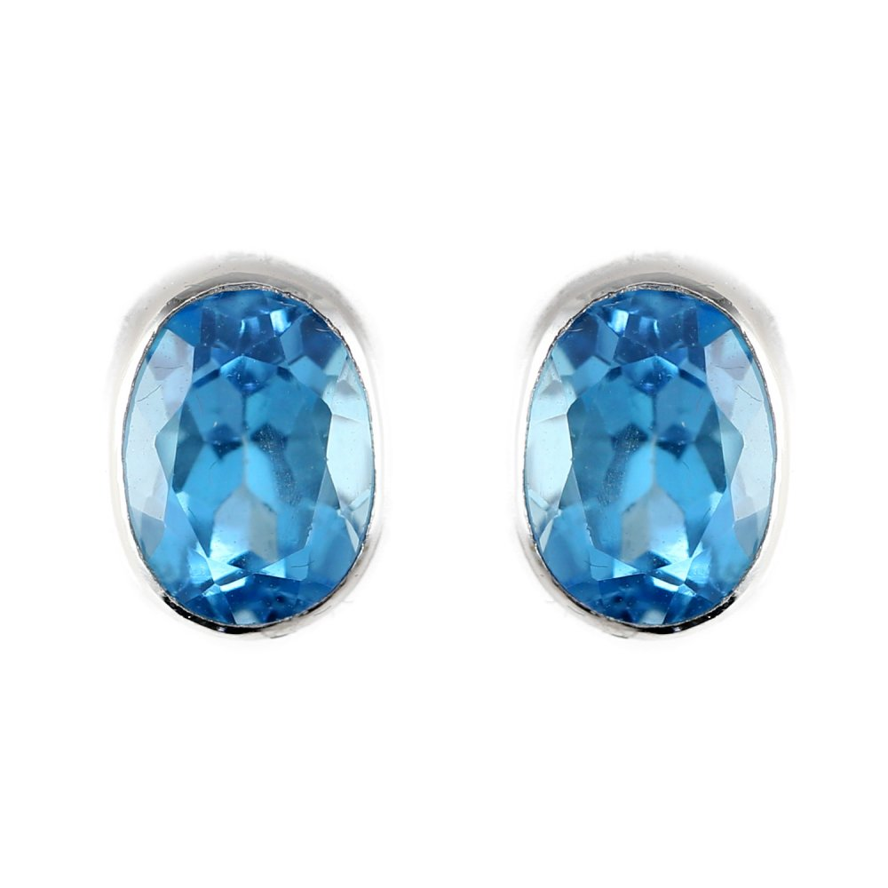 9ct White Gold 8x6mm Oval Blue Topaz Stud Earrings