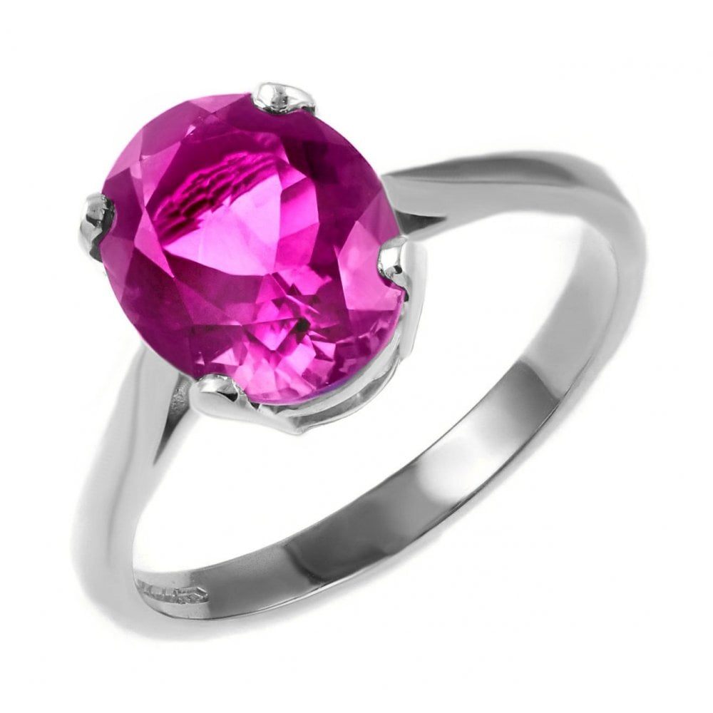 9ct white gold 8x6mm oval pink topaz ring - Jewellery from Mr Harold ...