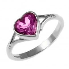 9ct white gold 8x8mm heart shape pink topaz ring