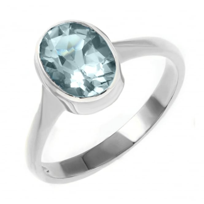 9ct white gold 9x7mm oval aquamarine ring