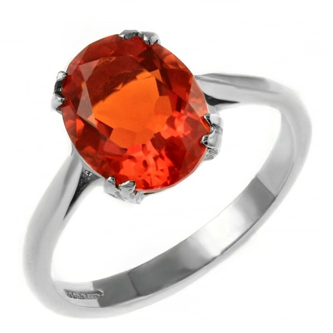 9ct white gold 9x7mm oval fire opal ring.
