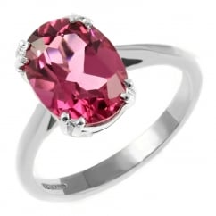 9ct white gold 9x7mm oval pink tourmaline ring.