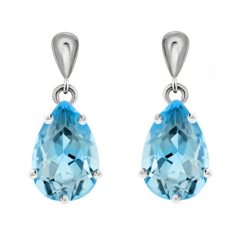 9ct White Gold 9x7mm Pear Blue Topaz Drop Earrings