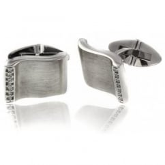 9ct white gold diamond satin wavy design swivel cufflinks.