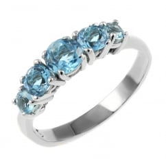 9ct white gold graduated blue topaz 5 stone ring.