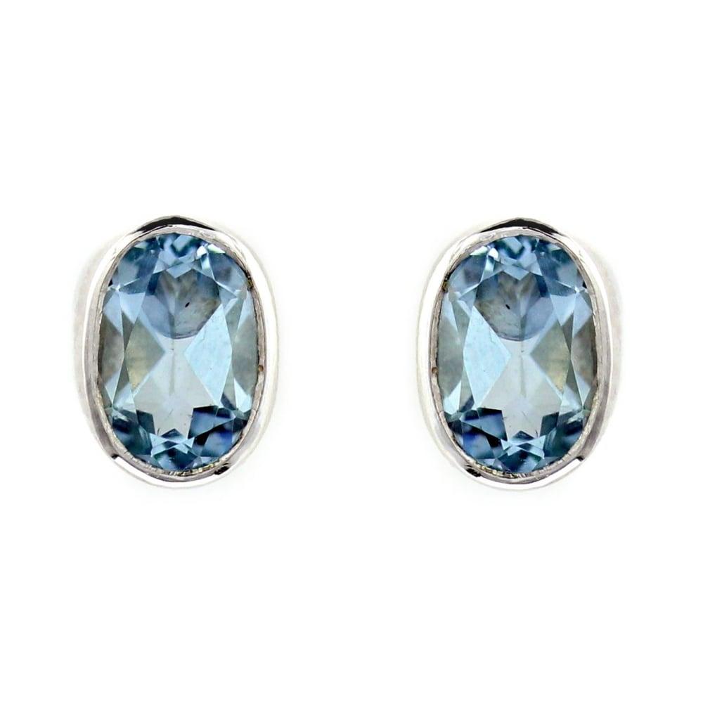 e3698ca4479dc 9ct white gold oval 8mm x 6mm aquamarine stud earrings