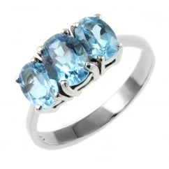 9ct white gold oval blue topaz 3 stone ring.