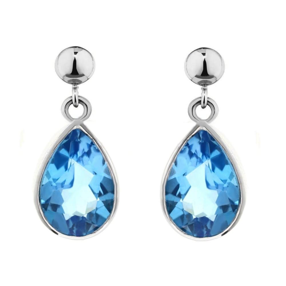 9ct White Gold Pear 9mm X 6mm Blue Topaz Drop Earrings
