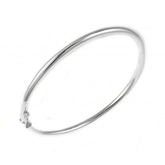 9ct white gold solid rounded bangle.