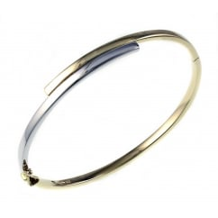9ct white & yellow gold solid 2 row crossover bangle.
