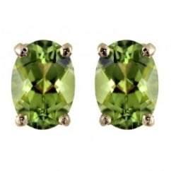 9ct yellow 7x5mm oval peridot stud earrings.
