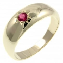 9ct yellow gold 0.15ct ruby gents signet ring.