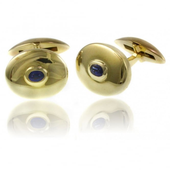 9ct yellow gold 0.49ct oval sapphire polished swivel cufflinks.