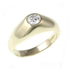 9ct yellow gold 0.60ct diamond set signet ring