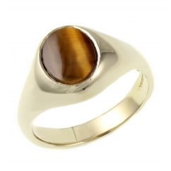 9ct yellow gold 10mm x 8mm tigers eye signet ring