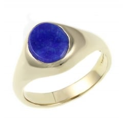 9ct yellow gold 10x8mm lapis signet ring