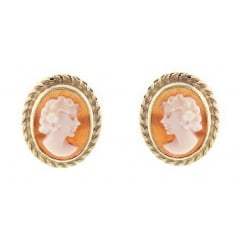 9ct yellow gold 10x8mm oval cameo stud earrings.